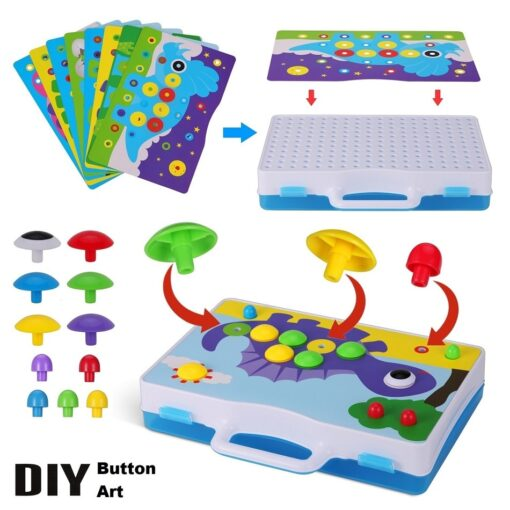 Electric Drill Puzzle Screwing Blocks Toy Creative Design Educational Toys Assembled Blocks Set Kids Boy Gift 1