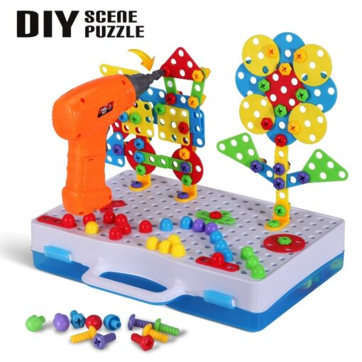Electric Drill Puzzle Screwing Blocks Toy Creative Design Educational Toys Assembled Blocks Set Kids Boy Gift 2