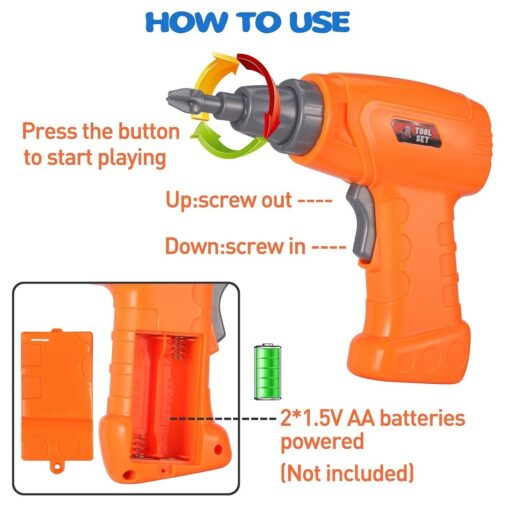 Electric Drill Puzzle Screwing Blocks Toy Creative Design Educational Toys Assembled Blocks Set Kids Boy Gift 3