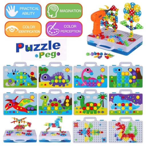 Electric Drill Puzzle Screwing Blocks Toy Creative Design Educational Toys Assembled Blocks Set Kids Boy Gift 4