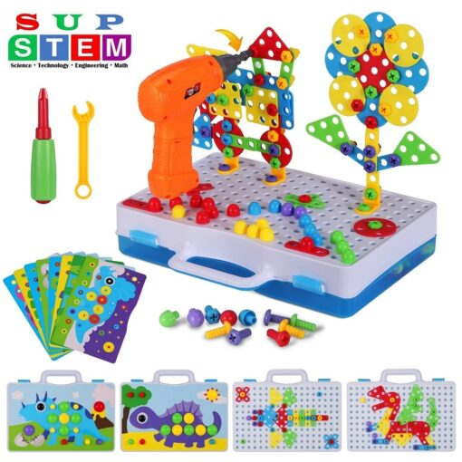Electric Drill Puzzle Screwing Blocks Toy Creative Design Educational Toys Assembled Blocks Set Kids Boy Gift