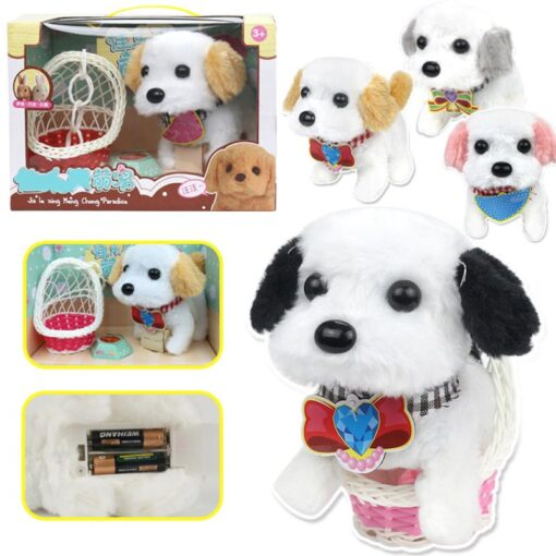 Electric Plush Toy Wagtail Pet Dog Educational Toy Nod Shake Tail without battery Random Color 1