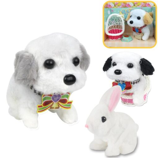 Electric Plush Toy Wagtail Pet Dog Educational Toy Nod Shake Tail without battery Random Color 2