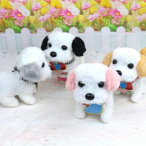 Electric Plush Toy Wagtail Pet Dog Educational Toy Nod Shake Tail without battery Random Color 5