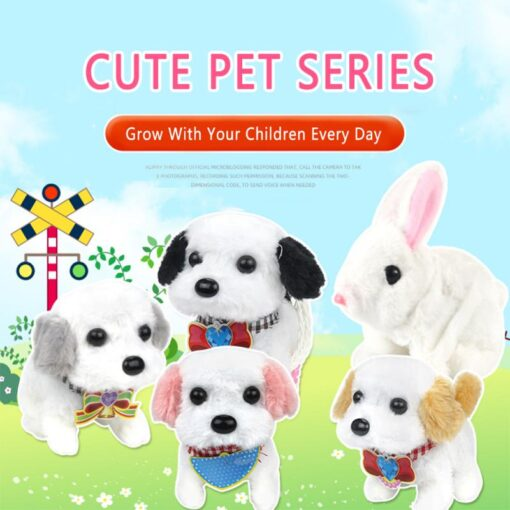 Electric Plush Toy Wagtail Pet Dog Educational Toy Nod Shake Tail without battery Random Color