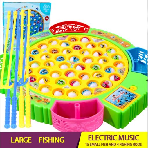 Electric Rotating Fishing Play Game Musical Fish Plate Set Magnetic Outdoor Sports Toys for Children GiftsKids 1