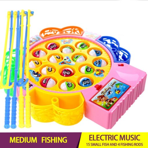 Electric Rotating Fishing Play Game Musical Fish Plate Set Magnetic Outdoor Sports Toys for Children GiftsKids