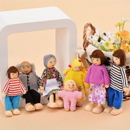 Family Dolls Kids Children Wooden DollHouse Toys Sets For Boys Girls Happy Family Dressed Characters Playing 1