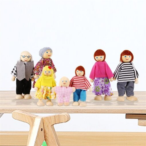 Family Dolls Kids Children Wooden DollHouse Toys Sets For Boys Girls Happy Family Dressed Characters Playing 2