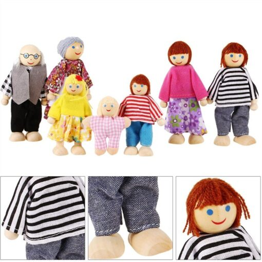 Family Dolls Kids Children Wooden DollHouse Toys Sets For Boys Girls Happy Family Dressed Characters Playing 3