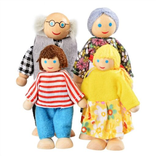 Family Dolls Kids Children Wooden DollHouse Toys Sets For Boys Girls Happy Family Dressed Characters Playing 4