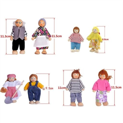 Family Dolls Kids Children Wooden DollHouse Toys Sets For Boys Girls Happy Family Dressed Characters Playing 5
