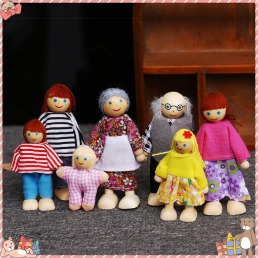 Family Dolls Kids Children Wooden DollHouse Toys Sets For Boys Girls Happy Family Dressed Characters Playing