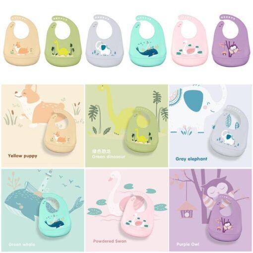 Fashion Cartoon Animal Soft Silicone Kids Bibs Waterproof Newborn Baby Feeding Adjustable Apron Saliva Bandana baby 2