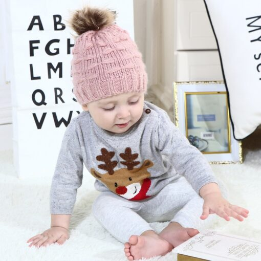 Fashion Newborn Girl Boy Baby Hats Cute Knitted Warm Protects Ear Bonnet Baby Infant Winter Knit
