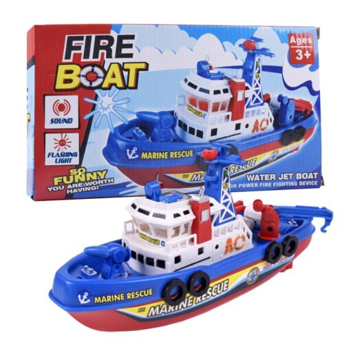 Fast Speed Music Light Electric Marine Rescue Fire Fighting Boat Fire Fighting Ship Toys Non Remote 1