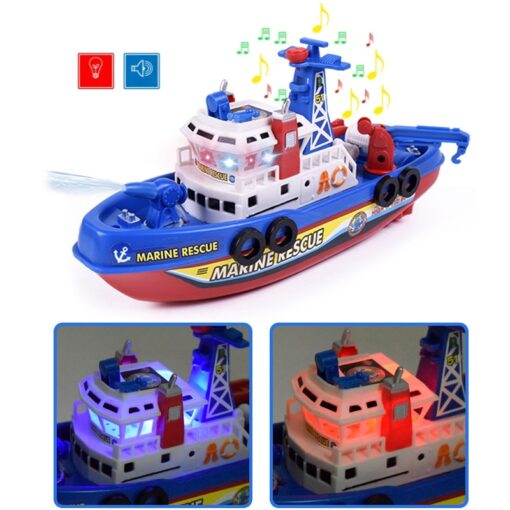 Fast Speed Music Light Electric Marine Rescue Fire Fighting Boat Fire Fighting Ship Toys Non Remote 2