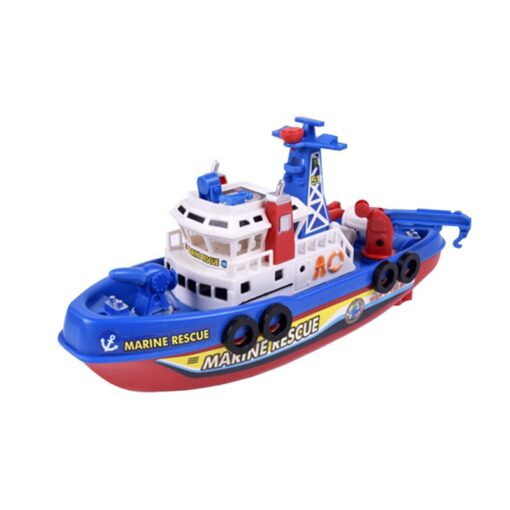 Fast Speed Music Light Electric Marine Rescue Fire Fighting Boat Fire Fighting Ship Toys Non Remote 4