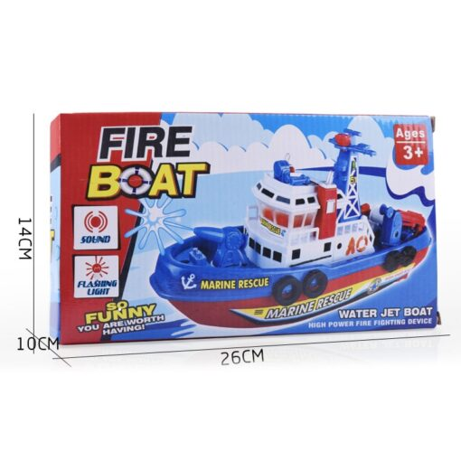 Fast Speed Music Light Electric Marine Rescue Fire Fighting Boat Fire Fighting Ship Toys Non Remote 5