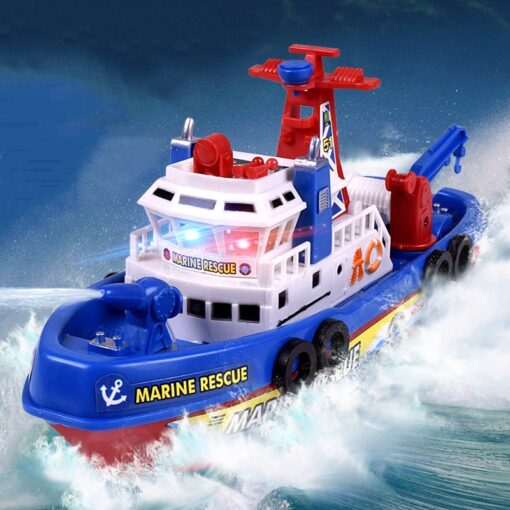 Fast Speed Music Light Electric Marine Rescue Fire Fighting Boat Fire Fighting Ship Toys Non Remote