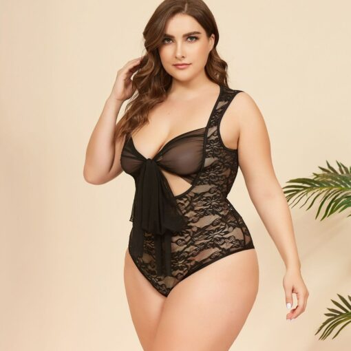 Female Sleepwear Sexy Lace Stitching Bow Jumpsuit Teddies Bowknot V Neck Lingerie Underwear Exotic Porno Lingerie 1