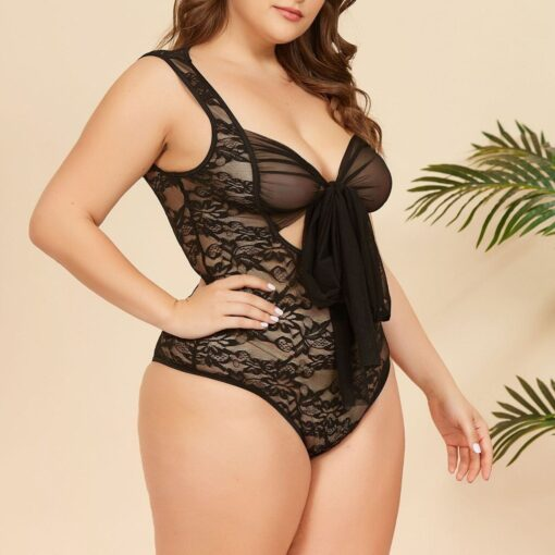Female Sleepwear Sexy Lace Stitching Bow Jumpsuit Teddies Bowknot V Neck Lingerie Underwear Exotic Porno Lingerie 3
