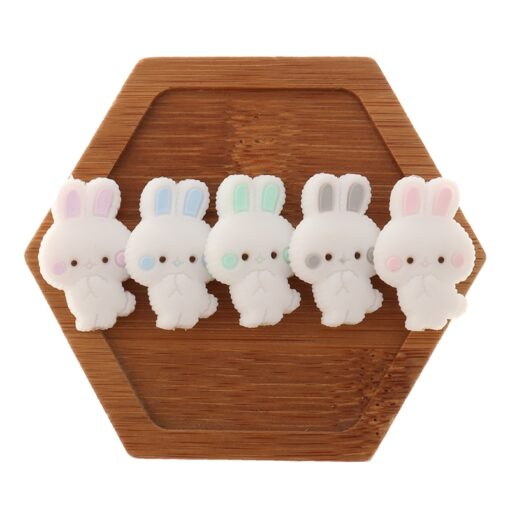 Fkisbox 5pc Rodent Silicone Unicorn Baby Teether Beads Flower Mordedor BPA Free Infant Chewing Teething Necklace 1