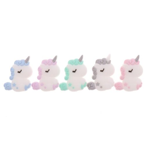 Fkisbox 5pc Rodent Silicone Unicorn Baby Teether Beads Flower Mordedor BPA Free Infant Chewing Teething Necklace 2