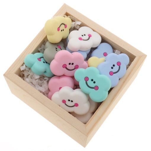 Fkisbox 5pc Rodent Silicone Unicorn Baby Teether Beads Flower Mordedor BPA Free Infant Chewing Teething Necklace 5