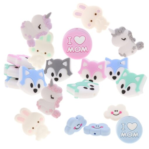 Fkisbox 5pc Rodent Silicone Unicorn Baby Teether Beads Flower Mordedor BPA Free Infant Chewing Teething Necklace