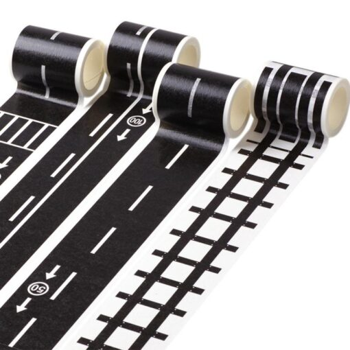 Floor Sticker Creative DIY Highway Railway Paper Tape Removable Track Road Kids Traffic Car Toy Adhesive 1