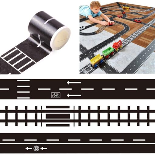 Floor Sticker Creative DIY Highway Railway Paper Tape Removable Track Road Kids Traffic Car Toy Adhesive