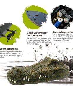 Flytec V002 RC Boat 2 4G Simulation Crocodile Head Remote Control Electric Racing Boat Pools Head 4
