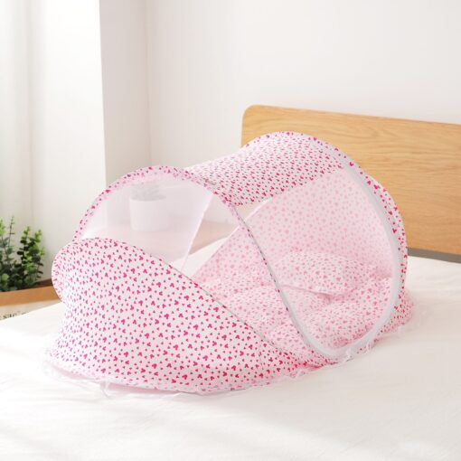 Foldable Baby Bedding Set with Mosquito Net Boy Girl Portable Newborn Crib Sleepping Bed Pillow Cot 3