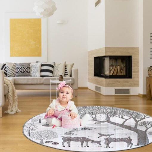 Foldable Children s Crawling Blanket Comfortable Soft Cotton Game Cushioned Mat 95cm Diameter For Bedroom Baby 1