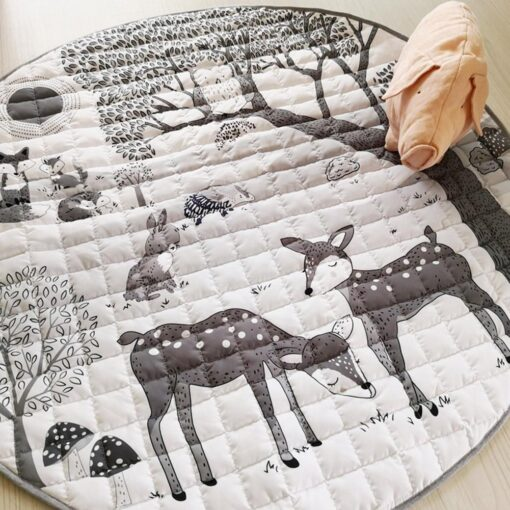 Foldable Children s Crawling Blanket Comfortable Soft Cotton Game Cushioned Mat 95cm Diameter For Bedroom Baby 2