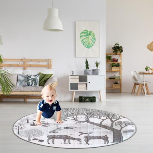 Foldable Children s Crawling Blanket Comfortable Soft Cotton Game Cushioned Mat 95cm Diameter For Bedroom Baby 4