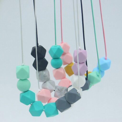 Food Grade Silicone Pendant Teething Necklace Hexagon Silicone Beads Nursing Teether Necklace Baby Molar Necklace For 1