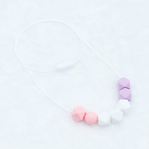 Food Grade Silicone Pendant Teething Necklace Hexagon Silicone Beads Nursing Teether Necklace Baby Molar Necklace For 4