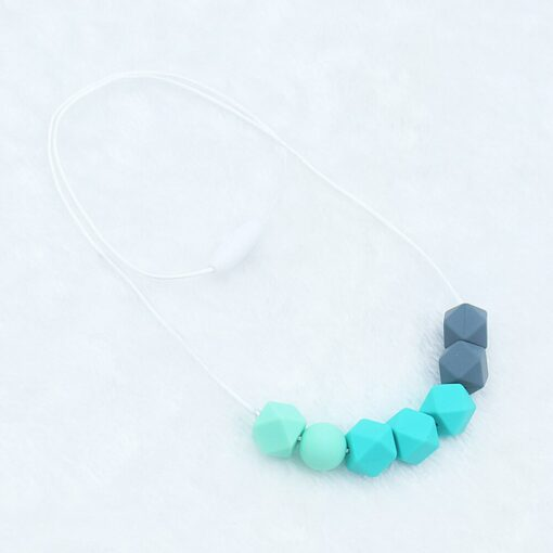 Food Grade Silicone Pendant Teething Necklace Hexagon Silicone Beads Nursing Teether Necklace Baby Molar Necklace For 5