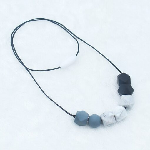 Food Grade Silicone Pendant Teething Necklace Hexagon Silicone Beads Nursing Teether Necklace Baby Molar Necklace For