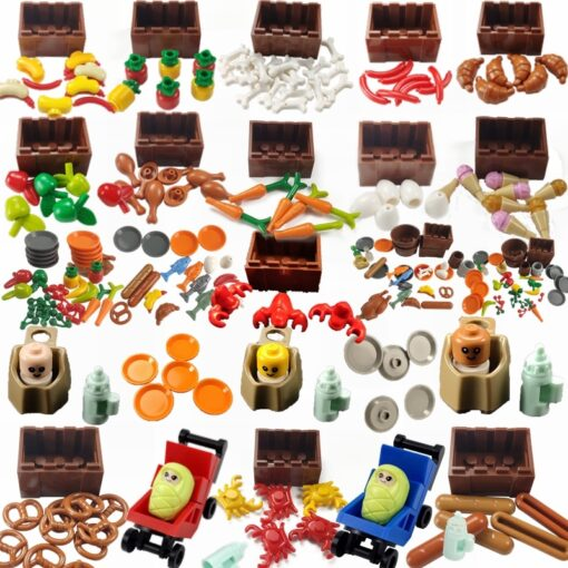 For Creator Friends For Girl City MOC Food Ice Cream Hospital Baby Carriage Figures Building Blocks