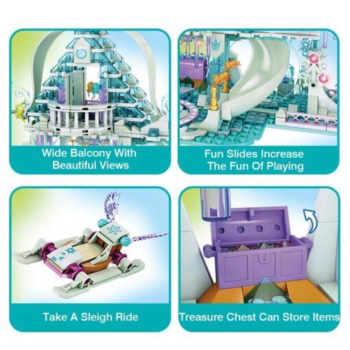 Forange Building Blocks Friends Girls Ice Snow Magic Castle Action Figure Carriage Princess Palace Brick Children 3