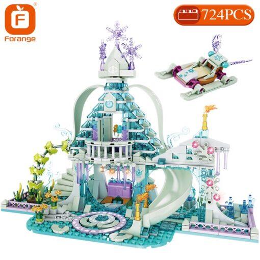 Forange Building Blocks Friends Girls Ice Snow Magic Castle Action Figure Carriage Princess Palace Brick Children