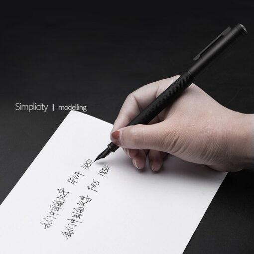Fountain Pen HongDian 1850 ink Full Metal Clip Pens Stainless Steel Black White Classic Fountain Pen 5