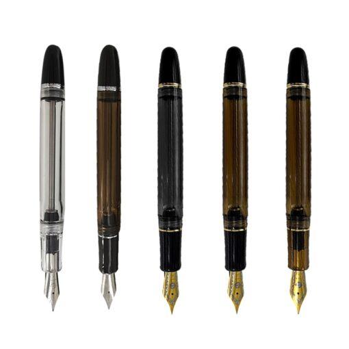 Fountain Pen Translucent Black Wing Sung 699 Vaccum Filling Fountain Pen Fine Nib Pen School Office 1