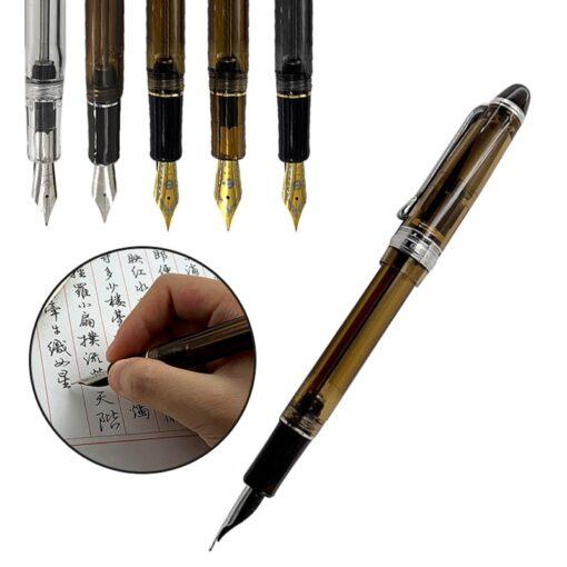 Fountain Pen Translucent Black Wing Sung 699 Vaccum Filling Fountain Pen Fine Nib Pen School Office 2