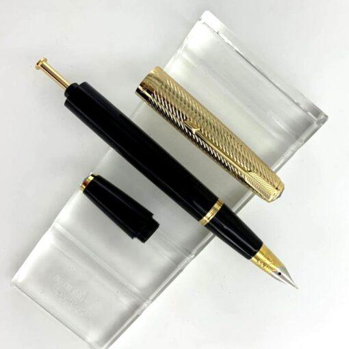 Fountain Pen Wing Sung 601A Wave Golden Cap Vacumatic Fountain Pen Fine Nib Solid Dark Blue 1