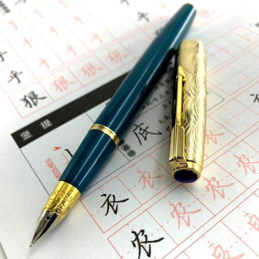 Fountain Pen Wing Sung 601A Wave Golden Cap Vacumatic Fountain Pen Fine Nib Solid Dark Blue