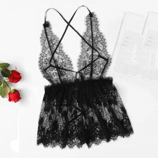 Four Seasons Female Sleeveless Women Deep V Neck Lace Seamless Lingerie Bodysuit Backless Teddy Jumpsuit Sleepwear 1